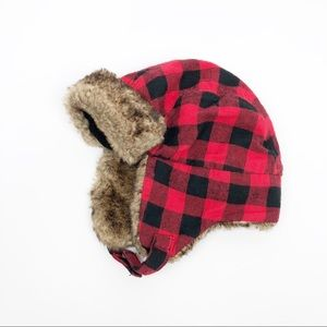 Old Navy Buffalo Plaid Fur Lined Trapper Hat 6-12
